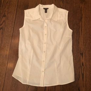 Sleeveless white pearl-snap button-down NWOT